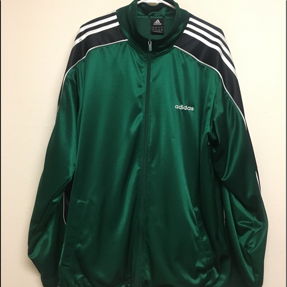 Men's Adidas Track Jacket Full Length Zip Sz Large